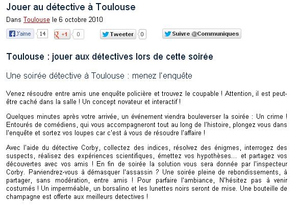 Super ShootMedia Toulouse - PRESTATION/ORGANISATION- SOIRéE ENQUêTES  TJ02